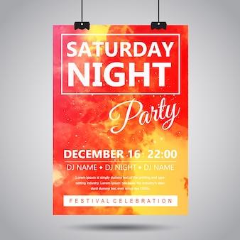 Watercolor smoke party poster