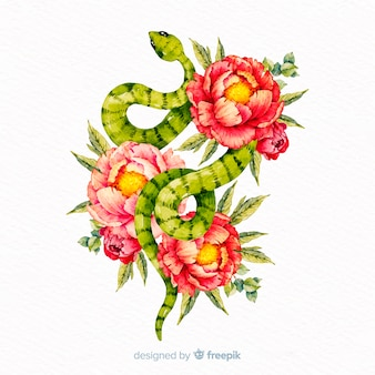 Watercolor snake background