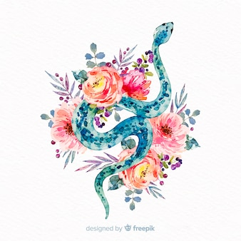 Watercolor snake with flowers background