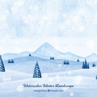 Акварельный пейзаж снежного пейзажа