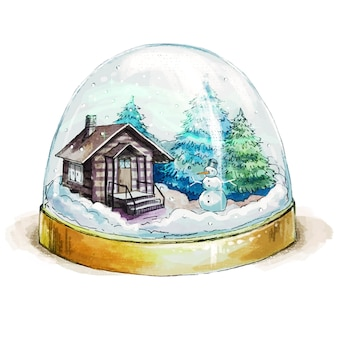 집, 눈사람, 크리스마스 나무와 수채화 snowglobe