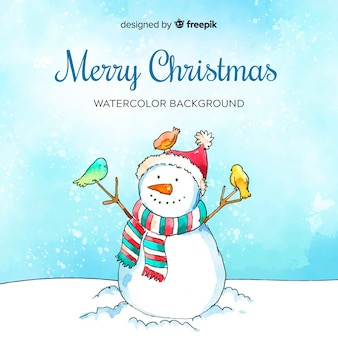 Watercolor snowman christmas background