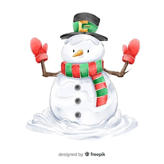 Watercolor snowman  christmas characters collection