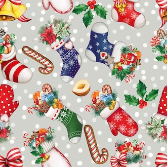 Watercolor snowy christmas pattern with stockings, gifts and treats