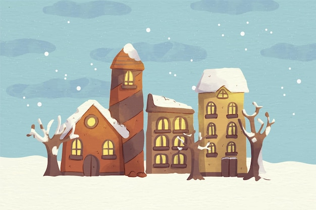 Watercolor snowy christmas town illustration at night