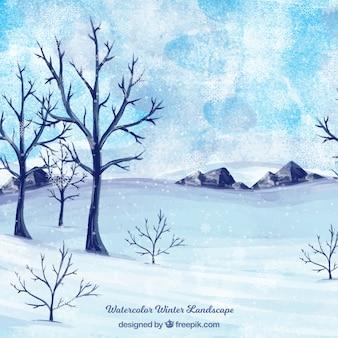 Акварель снежный пейзаж фон