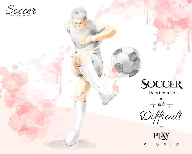 水彩のサッカー選手、エレガントなスプラッシュペイントブラシストロークスタイルでボールを蹴る若い男