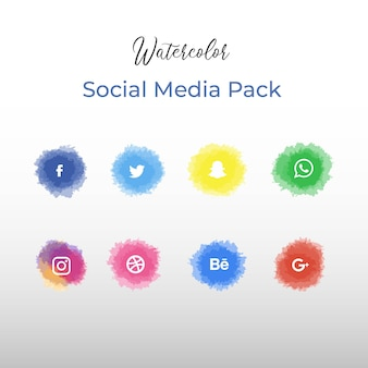 Watercolor social media pack