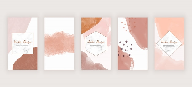 Watercolor social media stories background with nude abstract freehand brush stroke shapes and marble frames