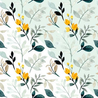 Watercolor soft green leaves seamless pattern