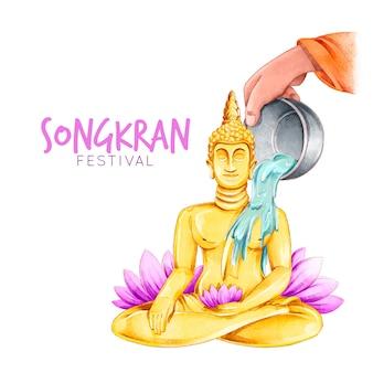 Watercolor songkran festival design
