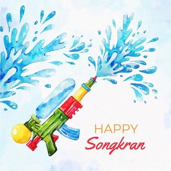 Watercolor songkran with water gun