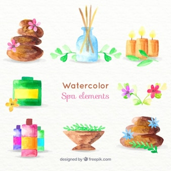 Watercolor spa elements