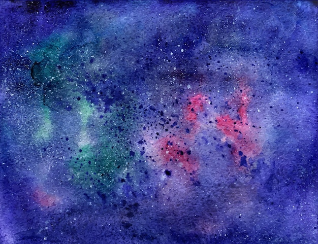 Watercolor space texture with stars. universe background. vector trace.