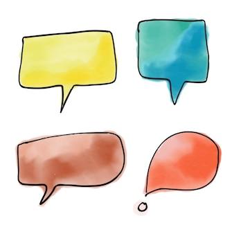 Watercolor speech bubble design Free Vector