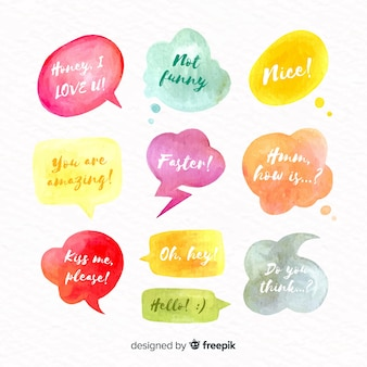 Watercolor speech bubbles with different expressions collection