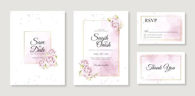 화려한 결혼식 초대 카드 템플릿 수채화 스플래시와 꽃 손 그림