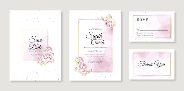 Watercolor splash and flower hand painting for a gorgeous wedding invitation card template