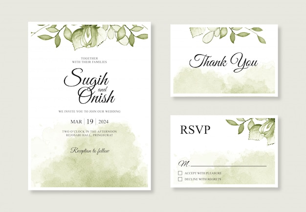 Watercolor splash and leaf hand painting for wedding card invitation templates