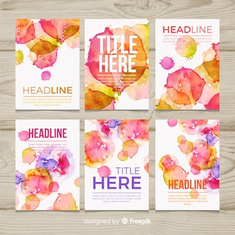 Watercolor splash poster collection
