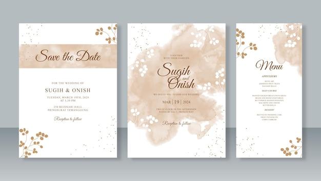 結婚式の招待カード テンプレート セットの金箔で水彩スプラッシュ