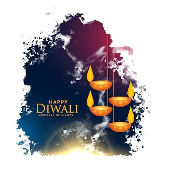 Watercolor splash with hanging diwali lamps