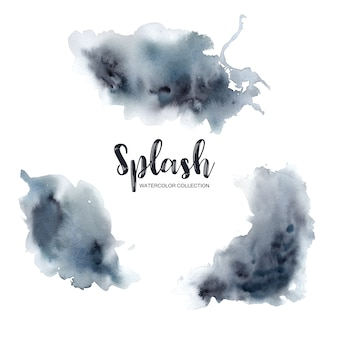 Watercolor splash with mixed black, white, blue illustration for decorative use.