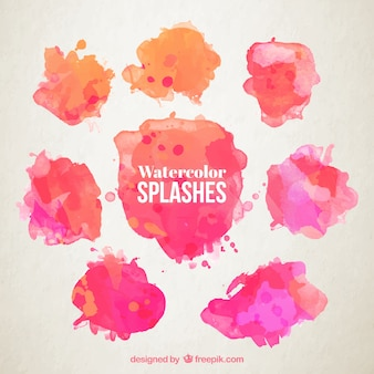 Watercolor splashes collection Premium Vector