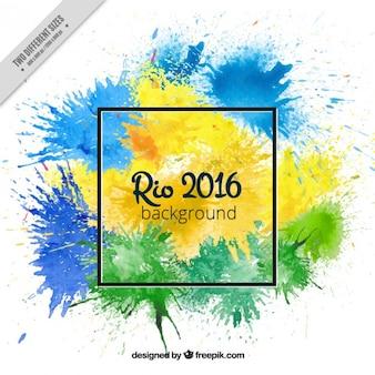 Watercolor splashes rio 2016 background