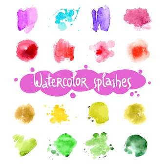 Watercolor splashes set