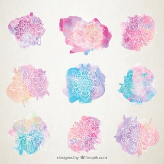Watercolor splashes with hand drawn mandala collection