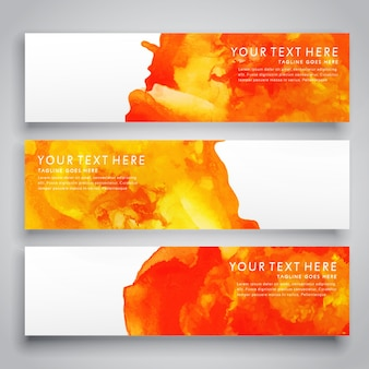 Watercolor splatter banner collection