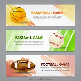Watercolor sports banners set