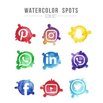 Watercolor Spot Icon Set