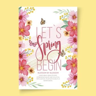 Шаблон поздравительной открытки акварель весна а6
