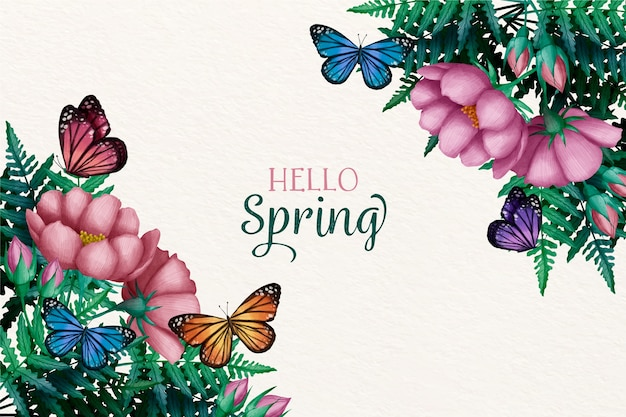 Watercolor spring background concept