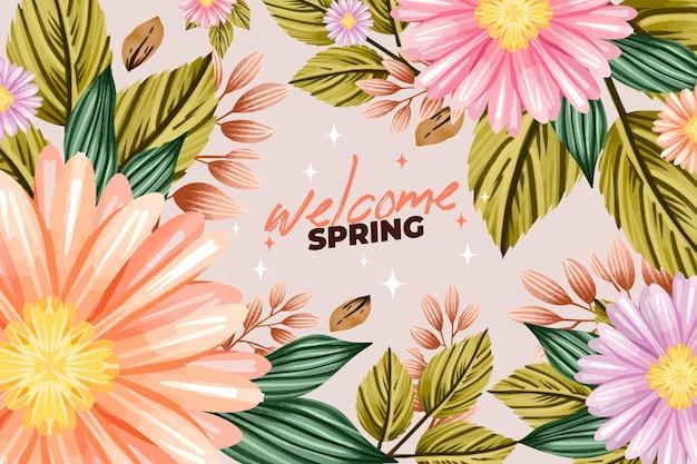 水彩の春の背景デザイン