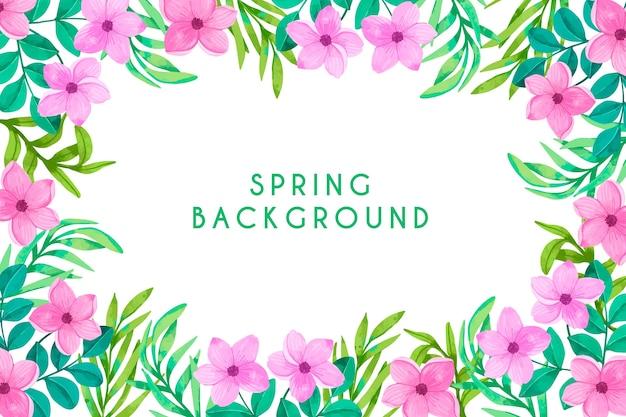 Акварель весенний фон в красочный цветочный дизайн