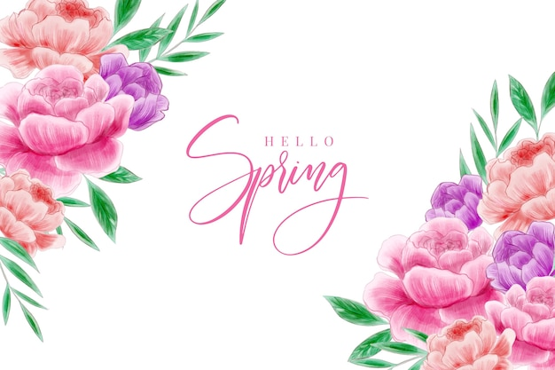 Watercolor spring background theme