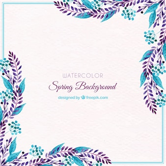 Watercolor spring background with blue leaves