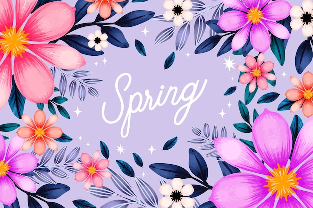Watercolor spring background with flowers