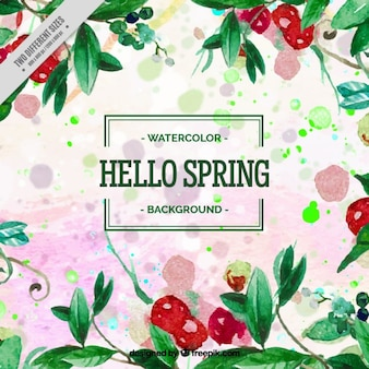Watercolor spring background with leaves and red fruits Free Vector