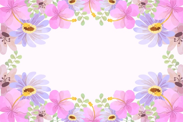 Watercolor spring background with pink flowers