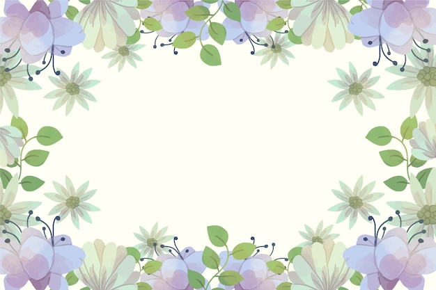 Watercolor spring background with purple flowers