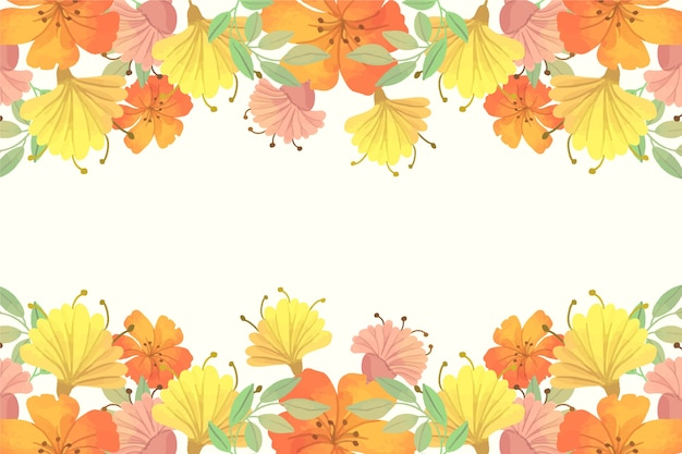 Watercolor spring background with warm colors flowers