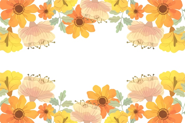 Watercolor spring background with white space