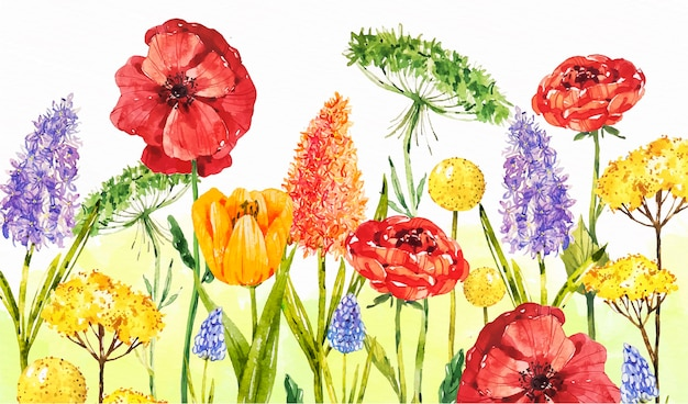 Watercolor spring background