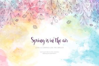 水彩画の春の背景