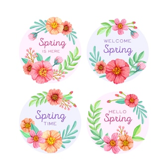 Watercolor spring badge collection