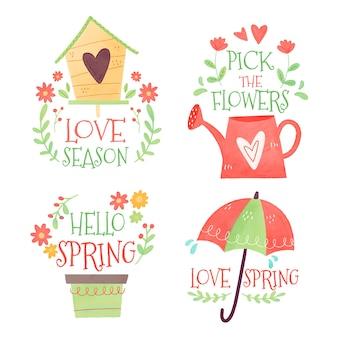Collezione di badge primavera dell'acquerello